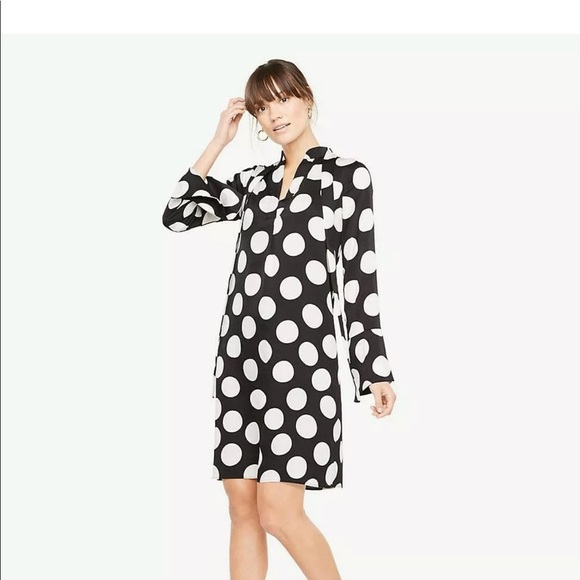 Ann Taylor Dresses & Skirts - ANN TAYLOR BLACK WHITE POLKA DOT TIE NECK DRESS L
